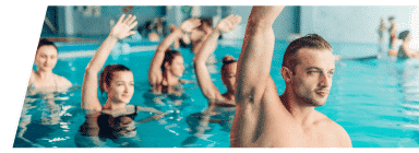 A water aerobics class at Club Loveland's indoor pool.
